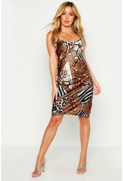 Womens Chocolate Petite Animal Mix Print Satin Slip Dress
