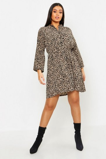 Womens Tan Plus Leopard Print Tie Shirt Dress