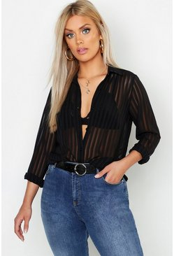 Womens Black Plus Burn Out Stripe Shirt