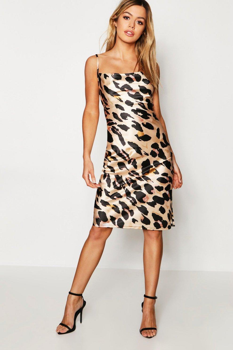 Petite Leopard Print Cowl Neck Midi Dress  0b373547f