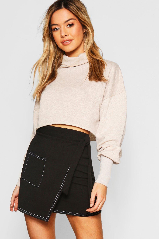 Petite Contrast Stitch Wrap Mini Skirt