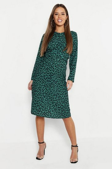 Womens Green Petite Woven Print Plunge Knot Front Dress