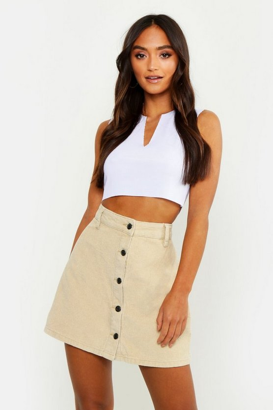 Womens Stone Petite Cord Button Front Skirt