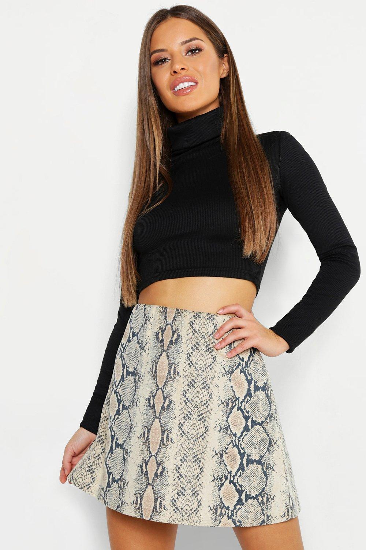 Petite Bonded Snake Print Mini Skirt