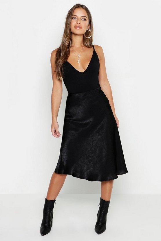 Womens Black Petite Satin Midi Skirt