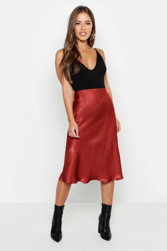 Womens Rust Petite Satin Midi Skirt
