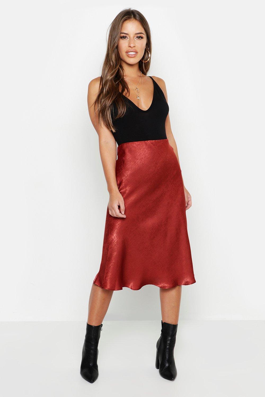 0bdb0b92f8 Womens Rust Petite Satin Midi Skirt. Hover to zoom