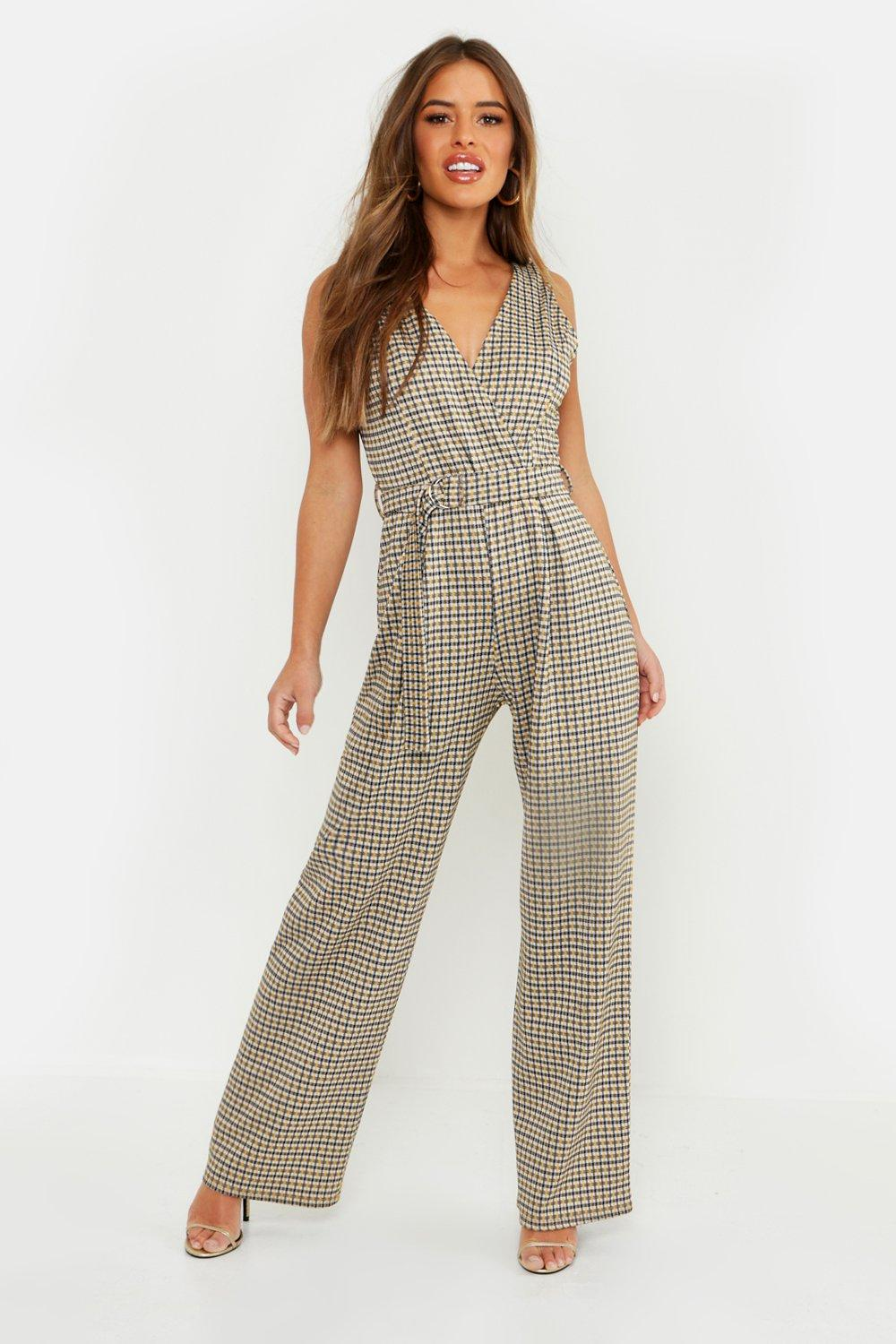 Petite Check Belted Wide Leg Jumpsuit