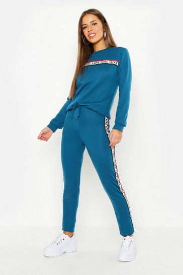 Womens Teal Petite Slogan Tape Detail Lounge Set