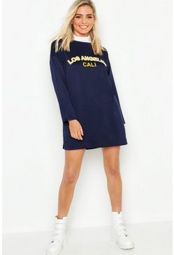 Womens Navy Petite Slogan Sweat Dress