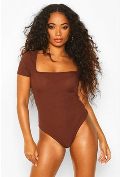 Womens Chocolate Petite Square Neck Bodysuit
