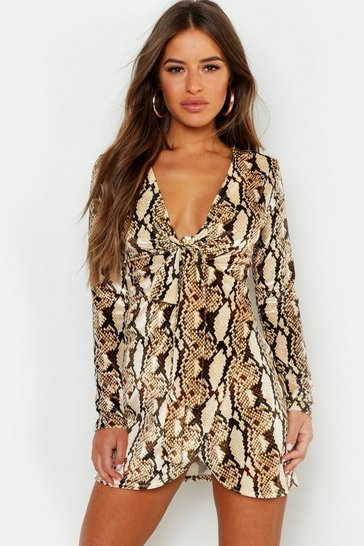 Womens Brown Petite Snake Print Velour Twist Bodycon Dress