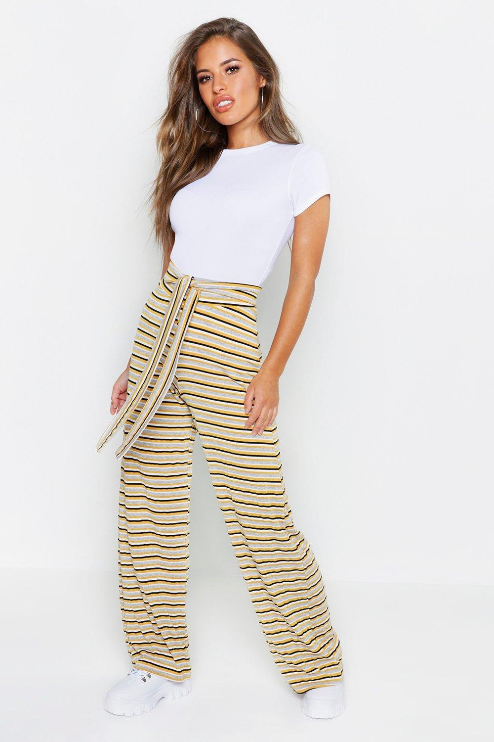 Petite Stripe Belted High Waisted Trouser