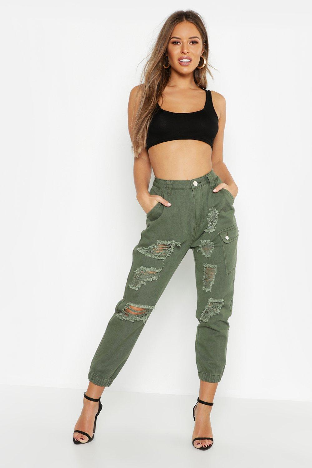 Petite Utility Pocket Distressed Cargo Jean