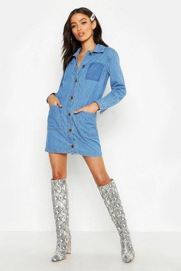 Womens Mid blue Petite Button Through Denim Shirt Dress