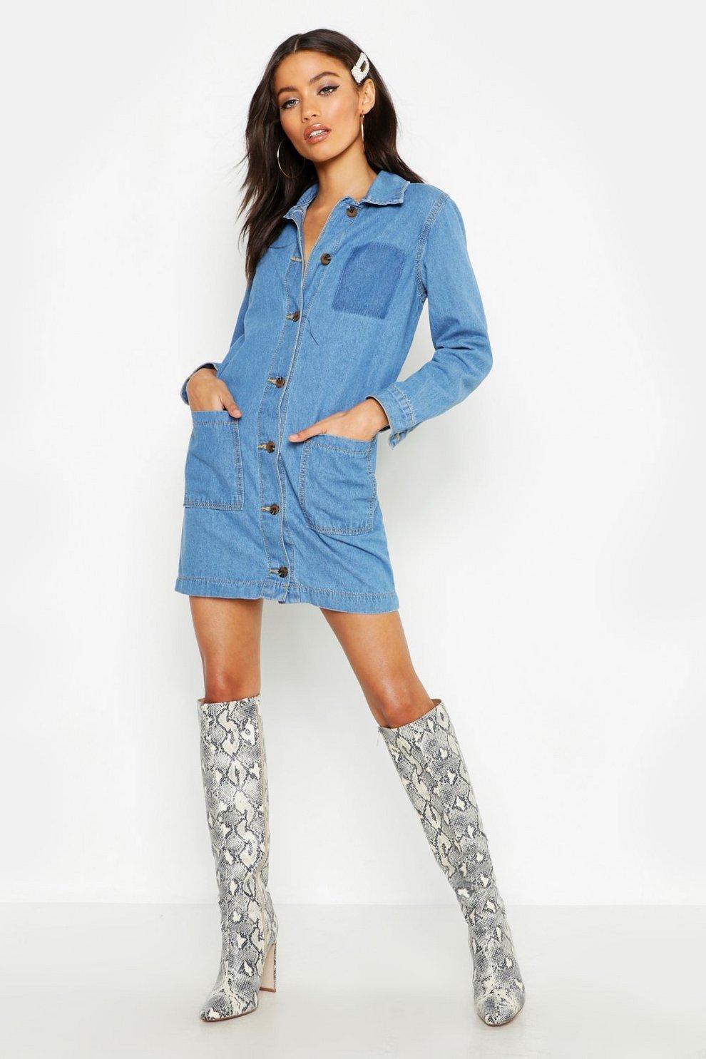 20703062aed Womens Mid blue Petite Button Through Denim Shirt Dress