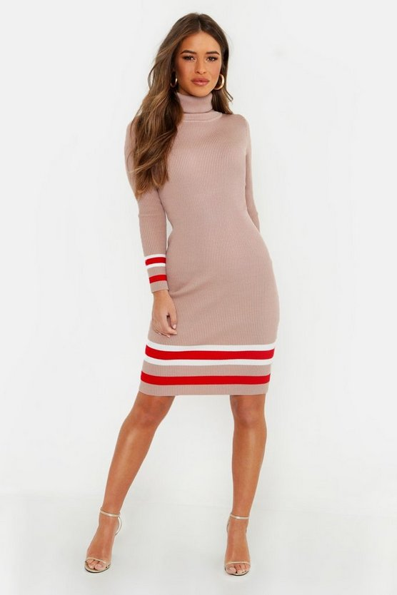 Womens Petite Roll Neck Sports Stipe Jumper Dress
