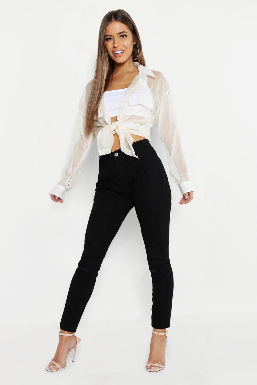 Petite Rip Knee High Rise Skinny Jean