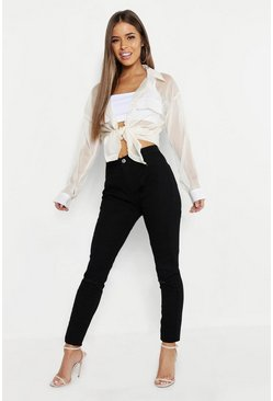 Womens Black Petite Rip Knee High Rise Skinny Jean