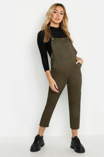 Womens Khaki Petite Mock Horn Button Utility Dungaree