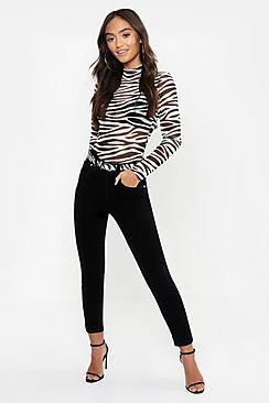 Petite High Rise Black Cord Skinny Jean
