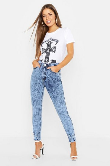 Womens Blue Petite Bleach Wash High Rise Skinny