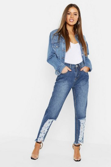 Womens Blue Petite Distressed Hem Straight Leg Jeans