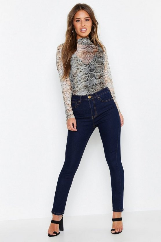 Womens Dark blue Petite High Waist Skinny Jeans