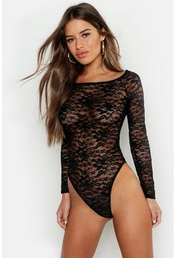 Womens Black Petite Lace Bardot Bodysuit
