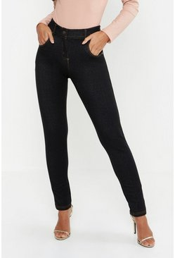 Womens Black Petite One Button High Rise Skinny Jegging