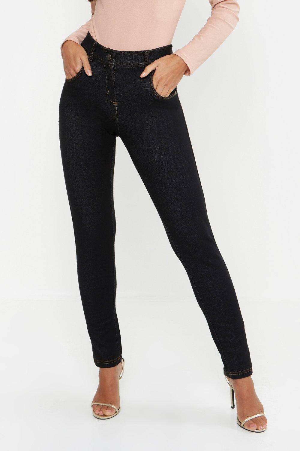 7dc87160e0e Womens Black Petite One Button High Rise Skinny Jegging. Hover to zoom