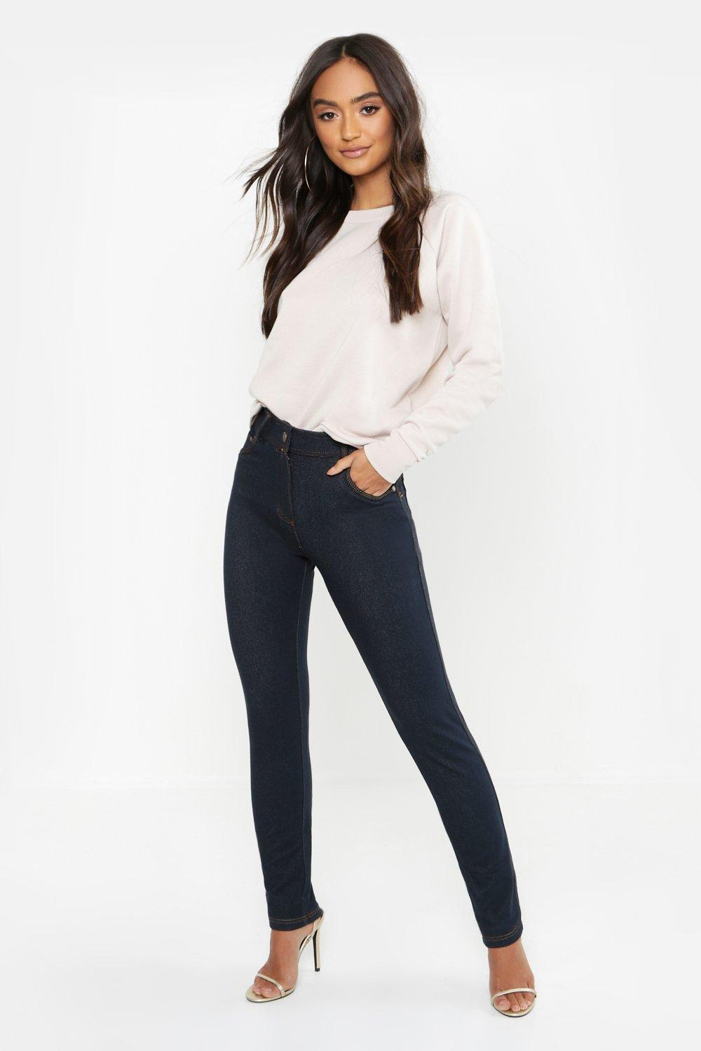 Petite High Rise One Button Skinny Jegging