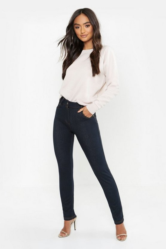 Womens Navy Petite High Rise One Button Skinny Jegging