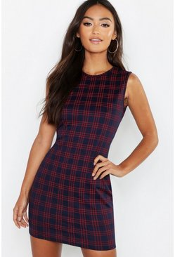 Womens Navy Petite Check Shift Dress