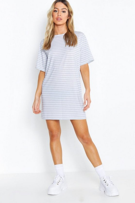 Womens Grey Petite Stripe Print Oversized Dress