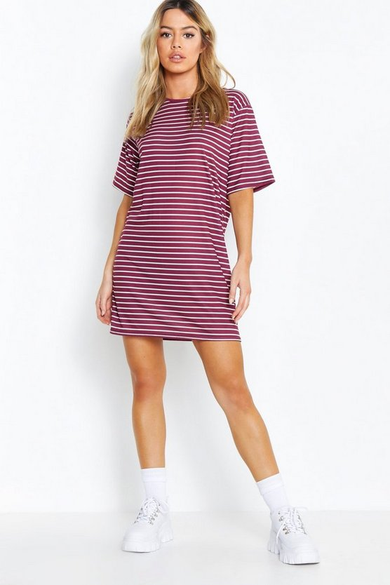 Petite Stripe Print Oversized Dress