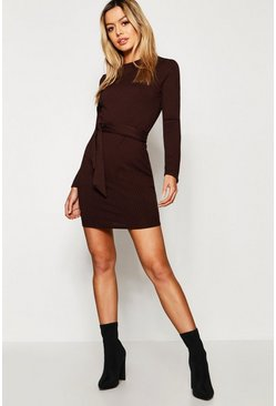 Womens Chocolate Petite Belted Rib Knitted Dress