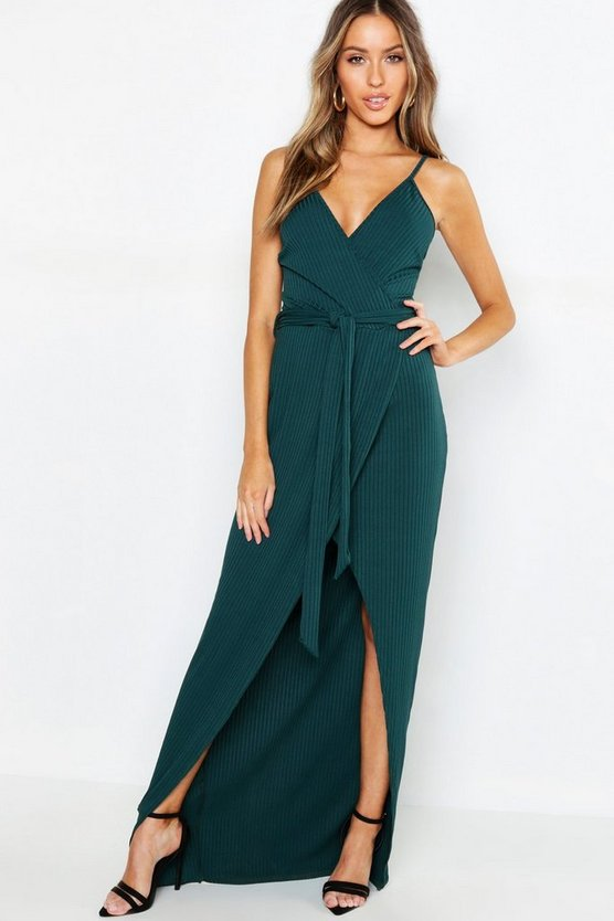 Petite Rib Wrap Belted Maxi Dress