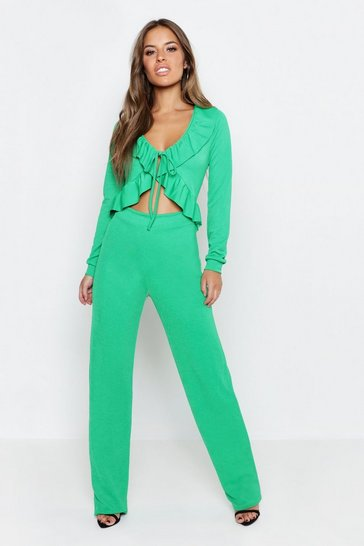 Womens Emerald Petite Ruffle Front Cut Out Jumpsuit