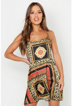 Womens Multi Petite Satin Scarf Print Cami Dress