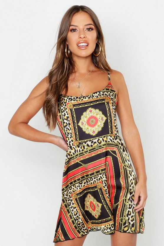 Petite Satin Scarf Print Cami Dress by Boohoo