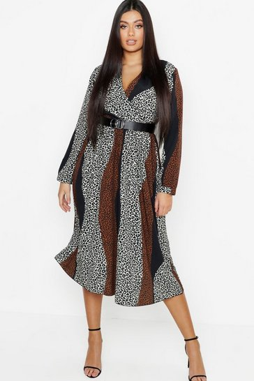 Womens Tan Plus Mix Leopard Print Wrap Midi Dress