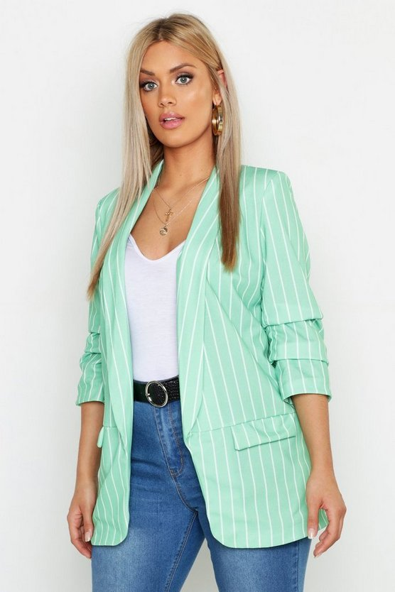 Plus Blazer a righe con increspature, Salvia, Femmina