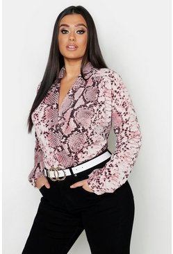 Womens Pink Plus Snake Print Wrap Bodysuit