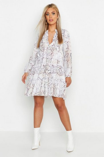 Womens Ivory Plus Snake Skin Smock Dress