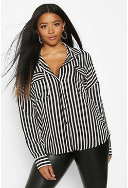 Black Plus Stripe Pocket Shirt