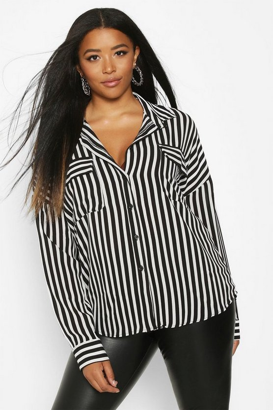 Womens Black Plus Stripe Pocket Shirt
