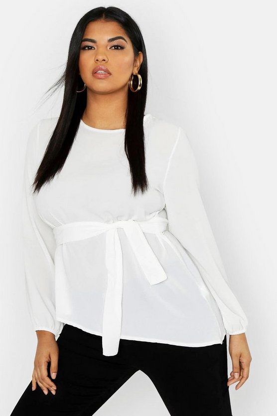 Womens Ivory Plus Tie Front Top
