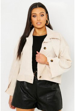 Womens Ecru Plus Cord Oversize Jacket
