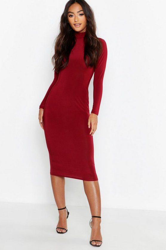 Petite Slinky High Neck Midi Dress